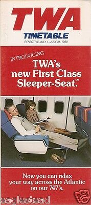 Airline Timetable - TWA - 01/07/80 - New First Class Sleeper Seat