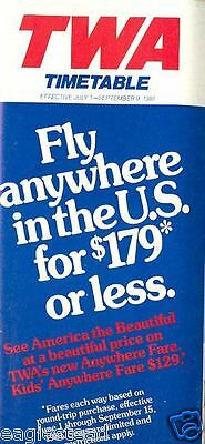 Airline Timetable - TWA - 01/07/81