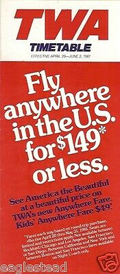 Airline Timetable - TWA - 26/04/81