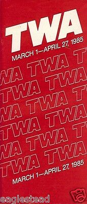 Airline Timetable - TWA - 01/03/85