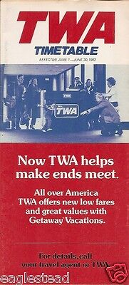 Airline Timetable - TWA - 01/06/82