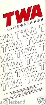 Airline Timetable - TWA - 01/07/85