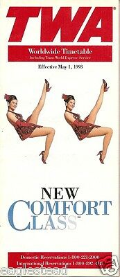 Airline Timetable - TWA - 01/05/93 - New Comfort Class
