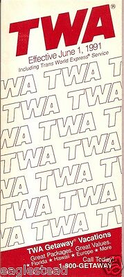 Airline Timetable - TWA - 01/06/91