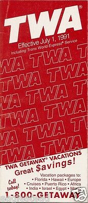 Airline Timetable - TWA - 01/07/91