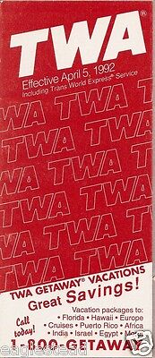 Airline Timetable - TWA - 05/04/92 - Flight Attendant Rear Cover