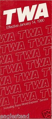 Airline Timetable - TWA - 14/01/90