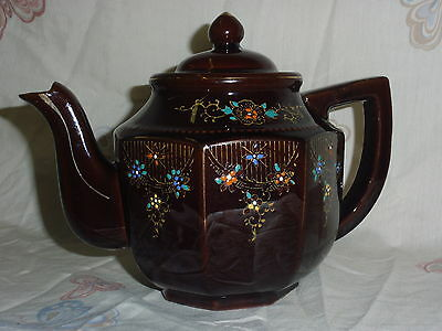 Vintage Beautiful Hand Painted Ceramic Teapot Multi Color From Japan