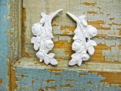 SHABBY n CHIC ROSE LEAVES-FURNITURE APPLIQUES- 4 pc's  & RESIN