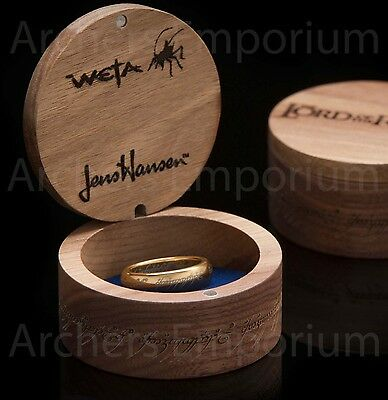 Exquisite, 18K Gold Plated One Ring with Runes. Prop Replica. LotR, Hobbit. Weta