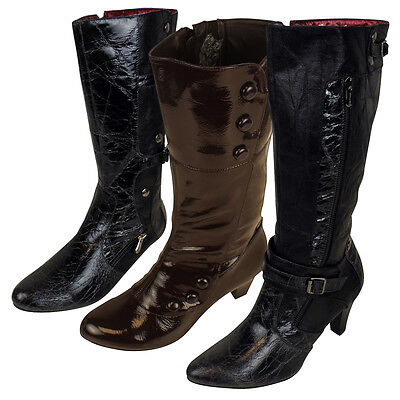 Womens Faux Leather Mid Calf Designer Boots Ladies Heel Boot Various Designs 3-7