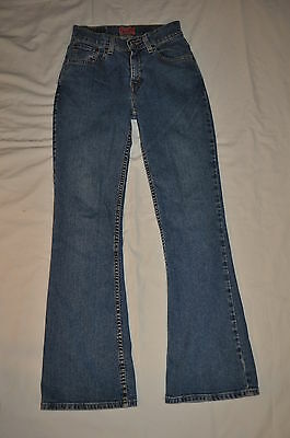 LEVIS 517  JUST FOR Girls 14 slim blue denim stretch FLARE  jeans RED  TAB euc