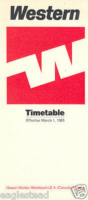 Airline Timetable - Western - 01/03/83
