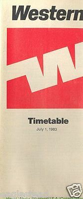 Airline Timetable - Western - 01/07/83