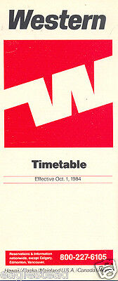 Airline Timetable - Western - 01/10/84