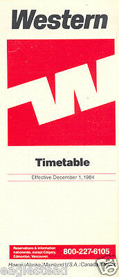 Airline Timetable - Western - 01/12/84