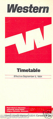 Airline Timetable - Western - 05/09/84