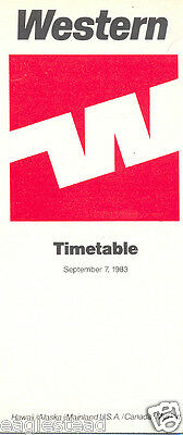 Airline Timetable - Western - 07/09/83