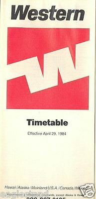 Airline Timetable - Western - 29/04/84