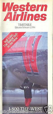 Airline Timetable - Western - 01/02/86