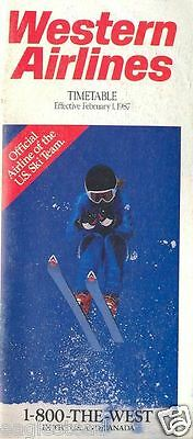 Airline Timetable - Western - 01/02/87 - US Ski Team Official Carrier cover