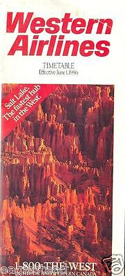 Airline Timetable - Western - 01/06/86 - Bryce Canyon Utah cover photo