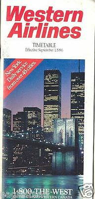 Airline Timetable - Western - 03/09/86 - New York Night Skyline cover photo