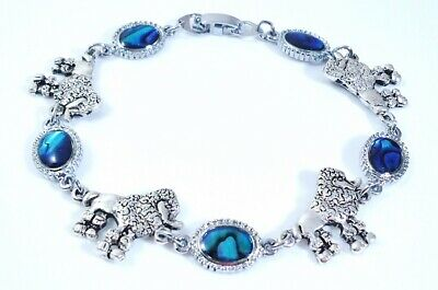 7.87 Inch cute Poodle Lovers anti. silver plate and Paua Shell Bracelet 20 cm