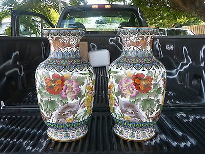 Pair Of Vintage Monumental Chinese Cloisonne Palace Size Vases