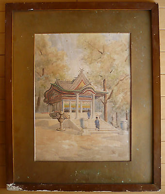 RARE ASIAN, 19th Century Antique painting, landscape, HARUNA watercolor, Asian
