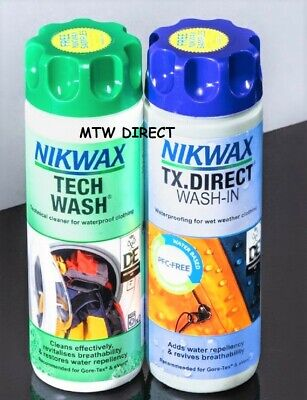 NIKWAX WATERPROOFING KIT DUO PACK TECH WASH IN & TX DIRECT FOR OUTDOOR KIT 300ml