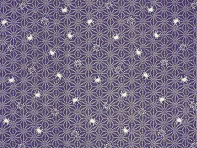 Tenugui Cloth Japanese Cotton Towel Gauze 'Purple Spiders' Fabric