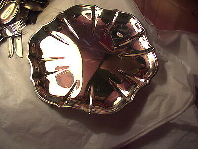 Silverplated plate or dish, flower-shaped, about 10 inches across, no mark