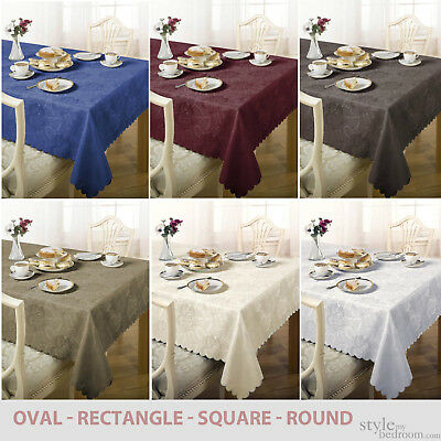 Damask Floral Jacquard Tablecloth in Various Colours, Shapes & Sizes