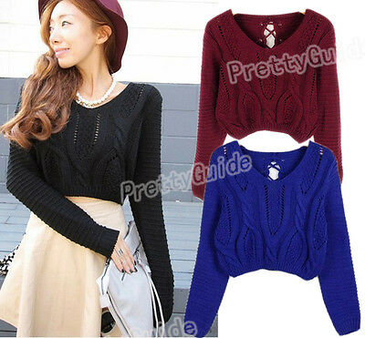 b0a8c8d204 PRETTYGUIDE WOMEN S SWEATER Long Sleeve Eyelet Cable Lace Up Crop ...