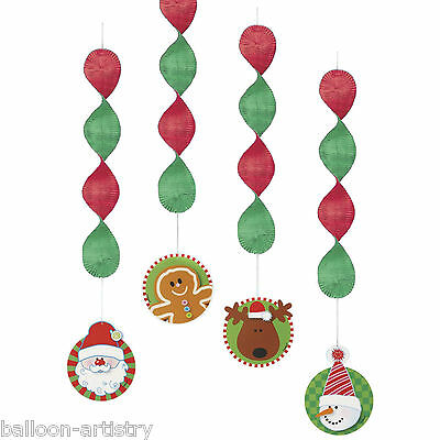 4 Christmas Party Hanging Cheerful Festive Pals Dangling Cutout Decorations