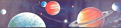 Outer Space Planets on Blue Mural Wallpaper Border 40806710