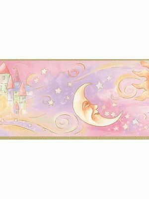 Pink Bedtime / Sun / Moon / Stars / Castle Wallpaper Border 40846170
