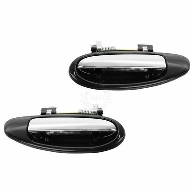 Door Handles Outside Black & Chrome Rear Pair Set for Infiniti I30 Nissan Maxima