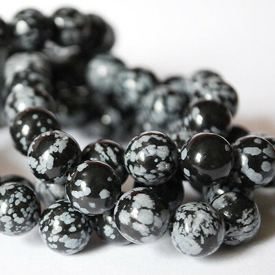 "16""Semi Precious Gemstone Natural Snowflake Obsidian Round Beads 4 , 6, 8, 10mm"