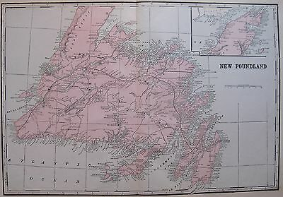 1901 Antique NEWFOUNDLAND CANADA Map Original Vintage Map of Newfoundland
