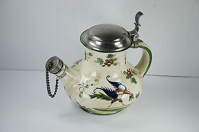 """Vintage Capodimonte Made in Italy Ceramic 10.5""""  Teapot with Pewter Cover"""
