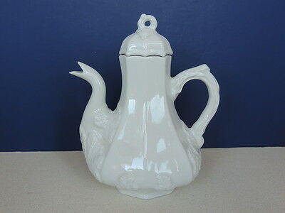 Vintage HALL RED CLIFF WHITE IRONSTONE TEAPOT HIGH RELIEF GRAPE LEAF Twig handle