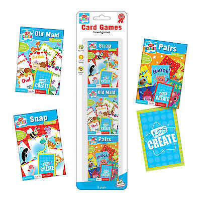 3 Packs Of Childrens Assorted Classic Card Travel Games Snap Pairs Old Maid Carg