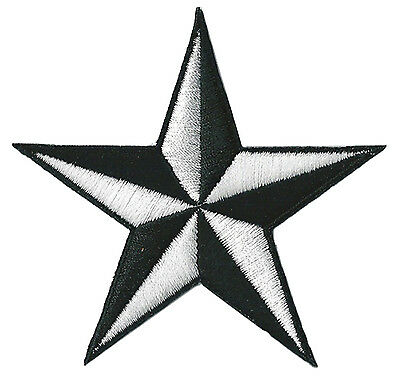 Ecusson patche thermocollant étoile Noir Blanc star patch brodé
