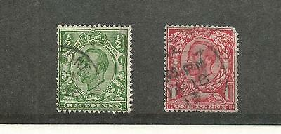 Great Britain, Postage Stamp, #158A-158B Used, 1912