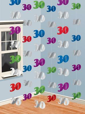 6  7ft 30th Birthday / Pearl Anniversary Party String Hanging Banner Decorations