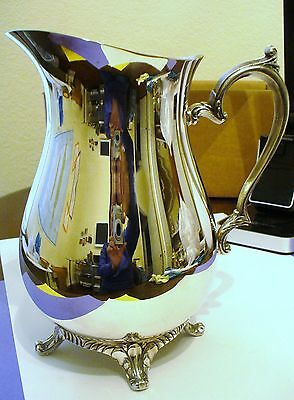"""Vintage Silver Plated Water Pitcher, Ornate Handle and 4 Leg Stand, 9.5"""" x 7.5"""""""