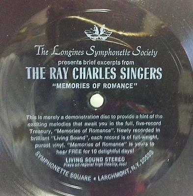 """THE RAY CHARLES SINGERS memories of romance 7"""" VG+ Flexi Disc Rare USA"""