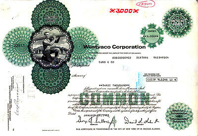 Broker Owned Stock Certificate: Cudd & Co, payee; Westvaco Corporation, issuer
